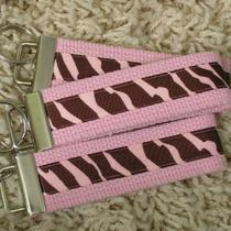 Clearance Sale Pink With Pink & Brown Zebra Print Keychain Key Fob - Sugarkitty Photo