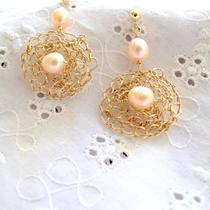 Clustered Web Solid Gold Earrings Photo