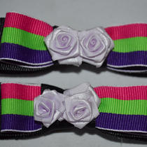Colorful Striped Bow Clips Photo