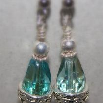 Cool Sea Green Fire Polished Crystal Earrings Photo