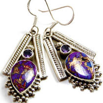 Copper Purple Turquoise Sterling Silver Earrings Photo