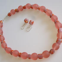 Coral Pink Resin and Glass Necklace and Earring Set Photo