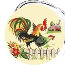 Country Roosters on the Farm 2 1/4 Inch Pocket Mirror or Keychain or Bottle Opener or Magnets or Pinback Buttons Photo