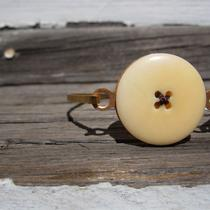 Cream Button/brown Thread Hinge Top Brass Bracelet Photo