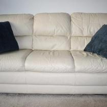 Cream Colored Leather Sofa Photo