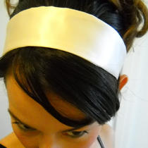 Cream Colored Pure Silk Wedding Party Headband Cocktail Photo