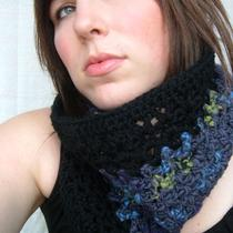 Crochet Electric Bruise Cowl in Black and Blue Violet Photo