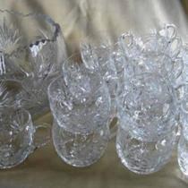 Crystal punchbowl and 23 cups, vintage Photo