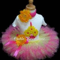 Cupcake Birthday Petti Tutu Set With 3d Cupcake Shirt ------- All Sizes 6 9 12 18 24 Months 2t 3t 4t --------Birthday Photo Holidays Dress Up Photo