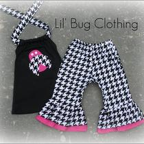 Custom Boutique Clothing  Lady Bug Houndstooth Hot Pink Capris and Halter Top Birthday Photo