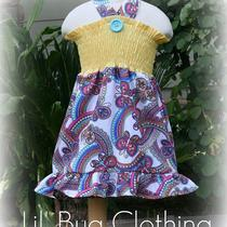 Custom Boutique Clothing Yellow Smocked Butterfly Summer Dress Girl 12 18 24 2t 3t 4t 5t 6 7 Photo