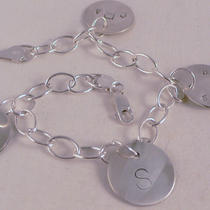 Custom Personalized Sterling Silver Circle Disc Bracelet by the Silver Diva Photo