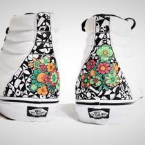 "Custom Sneakers - Vans SK8-Hi - ""Flowers"" - size men 11.5 Photo"