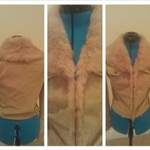 Cute Sassy Baige Rabbit Fur Hook and Eye Jacket Photo
