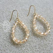 Czech Glass Beads Fire Polish Champagne Luster Earrings Photo