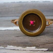 Dark Green Button/hot Pink Thread Hinge Top Brass Bracelet Photo