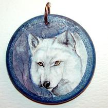 Day and Night White Wolf Double Sided Pendant Photo