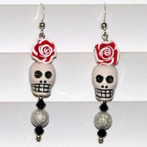 Day of the Dead Catrina Skull and Rose Earrings Red Photo