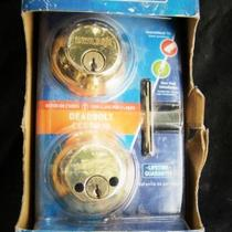 Deadbolt lock, new, Schlage, brass Photo
