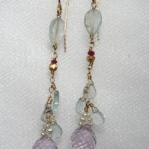 Delicate Aquamarine and Amethyst Earrings Photo