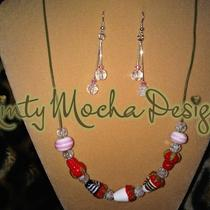 Dipped Strawberries Necklace and Earrings Set Photo