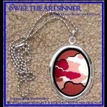 Divine Bliss Designs - Silver Tone Pendant With Chain - Pink Japanese Clouds Photo