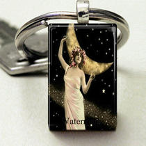 Domino Size Glass Metal Frame Key Chain- Edwardian Woman of the Stars Fantasy Space Moon Photo