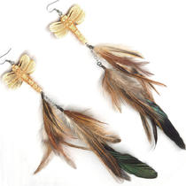 Double Dangle Feather Earrings Bone Dragonfly Photo