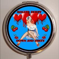 Down and Dirty Roller Derby Roller Derby Skater Skating Pinup  Derby Skater  Gal Rockabilly Pill Box Pillbox Case Holder for Vitamins Drugs Birth Control Photo