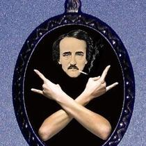 Dramatic Edgar Allan Poe Hipster Beatnik Horror Writer With Crossed Arms in Jolly Rogers Skull and Crossbones Design Shs Original Handmade Handcasted Metal Pendant Handpainted Black and Ballchain Necklace Photo