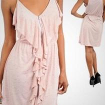Dusty Pink Draped Spaghetti Strap Dress with zipper front Photo