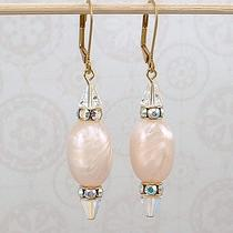 Earrings - Cloud Shimmer - Vintage Lucite Vintage Swarovski Crystal Photo