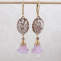 Earrings - Lavender Lucite Flowers With Amethyst and White Vintage Glass Photo