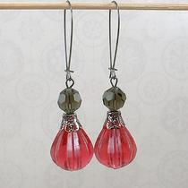 Earrings - Vintage Fuchsia Lucite Vintage Smoke Crystal Gunmetal Accents Photo