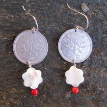 Earrings With Japanese Coin Shell and Coral Photo