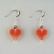 Earrings With Salmon-Red Glass Hearts Photo