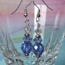 Electric Blue Crystal Earrings Photo
