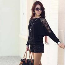 Elegant Style Batwing Lace Splice Long Sleeve Cotton Blend T-Shirt  Photo