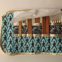 Elvis in the Jungle Room Double Pointed Needle Case Organizer Cozy With Flap and Gold Accents Photo