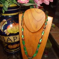 Emerald Green Art Glass With Copper Necklace and Green Heart Focal Bead Photo