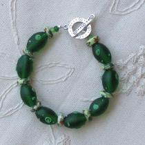 Emerald Green With Lime Green Swirls Bracelet Free Shipping Photo