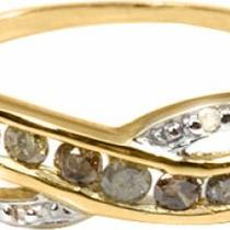 EXCLUSIVE 0.30 CT SATIN GOLD GENUINE DIAMONDS 10K SOLID YG RING RETAIL $960.00 Photo