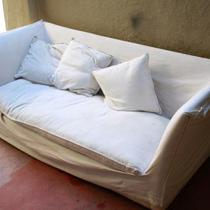 Extra High Back White Twill Couch. Slipcovered so easy to wash Photo