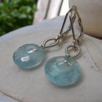 Faceted Aquamarine Donut Briolette Sterling Silver Coil Bail Earrings Photo