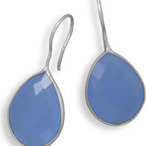 Faceted Blue Chalcedony Earrings Photo