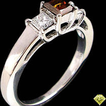 Fancy Red Diamond 3 Stone Engagement Ring Princess Cut Photo