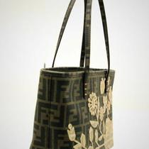 Fendi Brown Monogram & Floral Embellished Tote Photo