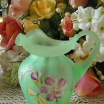 FENTON WILLOW GREEN SATIN GLASS PITCHER 2002 Photo