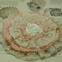 Flapper Style Ribbon Flower Sachet With Vintage Lace Photo