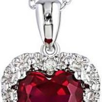 For Sale New Ruby Heart Shaped Pendant With Diamonds Photo